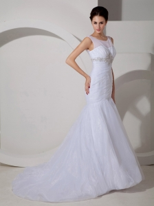 Scoop Mermaid Appliques Ruch Wedding Dress Tulle Train