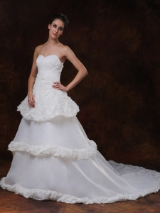 Rolling Flowers Organza Court Train Wedding Dresses