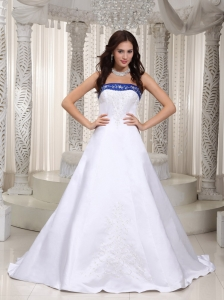 White and Royal Blue Bridal Gown with Embroidery Court Train