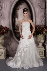 Taffeta Lace Wedding Dress A-line Strapless Court Train Appliques