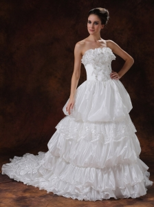Chapel Train Beading Garden Organza Wedding Dresses