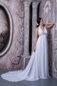 V-neck Wedding Bridal Dress A-line Court Train Chiffon Beading
