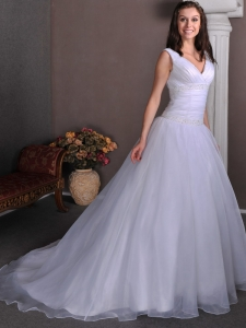 Ruch V-neck Court Beading Bridal Gowns Wedding Dress