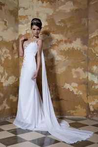 Appliques One Shoulder Beaded Wedding Dresses Train