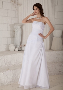 Ruched Bridal Wedding Dress Strapless Chiffon Beading Column