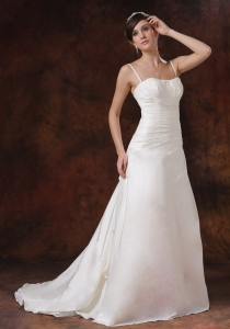 Spaghetti Straps Wedding Gown Sweep Taffeta Princess Ruched