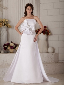 Beading Bow Bridal Wedding Gown A-line Strapless Court Train