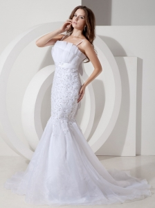 Spaghetti Straps Mermaid Belt Wedding Bridal Gowns