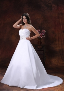 Beaded Wedding Bridal Dress Sweetheart Ball Gowns Satin