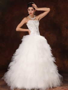 Ruffles Wedding Bridal Gown Sweetheart A-line Floor-length