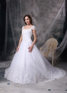 Lace Satin Bridal Dress Square Neck A-line Chapel Train Straps