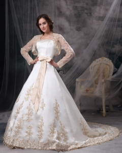 Embriodery Sash Wedding Dress Jacket Court Train Satin