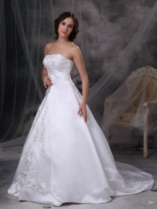 Court Train Wedding Gown Satin Embroidery A-line Strapless