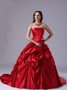 Wine Red Pick-ups Wedding Dress Ball Gown With Court Train