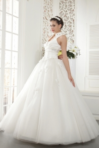 High-neck Beading Ball Gown Wedding Dresses Tulle