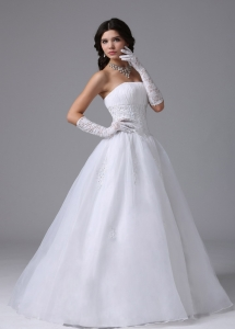 A-line Ball Gown Wedding Dress With Appliques Decorated Waist