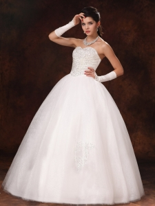 Ball Gown Sweetheart Beaded Organza Custom Made Wedding Dress