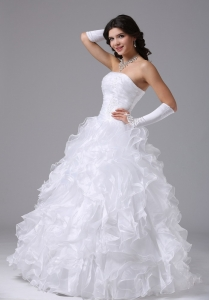 Ball Gown Wedding Dress With Ruffles and Strapless Floor-length