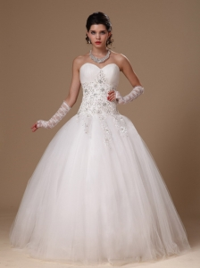 Beaded Ball Gown Appliques Sweetheart Church Wedding Dress