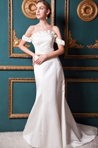 Beautiful Off The Shoulder Satin A-line Court Train Wedding Dress
