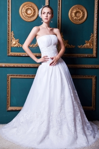 Lace Wedding Bridal Gowns Ruching Court Train Organza