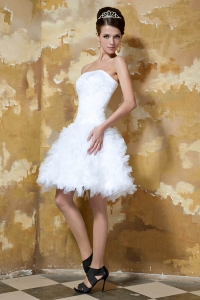 Ruffles Mini-length Ruching Outdoor Wedding Dresses Tulle