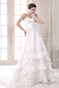 Appliques Beaded Bridal Wedding Dresses Sweetheart Train