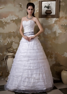 Appliques Ruffled Layers Wedding Dress Sashed Sweetheart