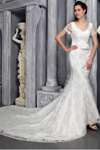V-neck Mermaid Chapel Train Lace Wedding Dress Sashed