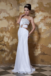 Column Beaded Wedding Dresses for Brides Chiffon Train