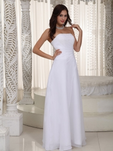 Empire Beading Strapless Chiffon Beach Wedding Dresses