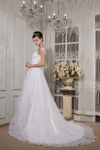 Brand New Lace Sash Wedding Dress A-line Square Court Train