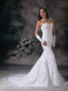 Embroidery Mermaid Chapel Train Beading Wedding Dress