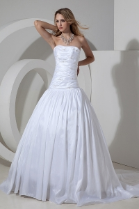 Beading Wedding Dresses Ruched Taffeta Court Train