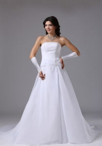 Chiffon Appliques Wedding Bridal Dress Beaded Chapel Train