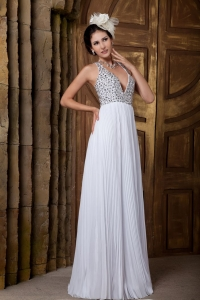 Beading V-neck Pleated Wedding Dress Criss-cross Chiffon