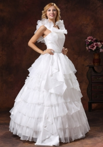 Ruching Scoop Ball Gown Beaded Ruffles Wedding Dresses