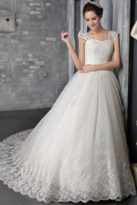Square Chapel Train Appliques Organza Wedding Dress