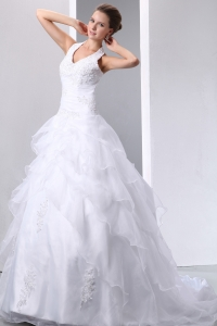 Halter Court Train Taffeta and Organza Appliques Wedding Dress