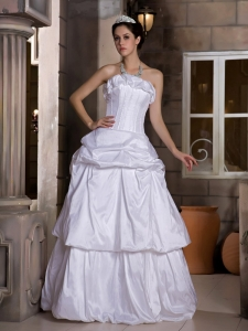 Pick-ups Wedding Dress Strapless Floor-length Taffeta Ruffles