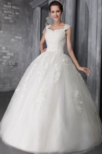 Lace Straps Ball Gown Sequins Wedding Dress Appliques