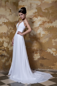 Spaghetti Straps Beaded Wedding Dress Court Train Chiffon