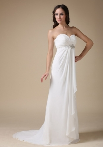 Sweetheart Brush Train Chiffon Beading Wedding Dress