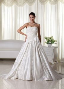 Ruched Sweetheart Court Train Satin Embroidery Wedding Gown