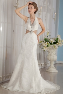 Halter Rhinestones Mermaid Wedding Dress Watteau Train