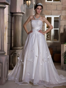 Exquisite Ruched Bodice and Hand Made Flowers Wedding Dress