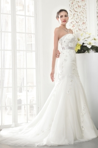 Mermaid Strapless Court Train Tulle Beading Wedding Dress