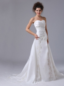 Beading A-Line Sweetheart Organza Embroidery Sweep Bridal Dresses