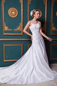 A-line Spaghetti Straps Chapel Train Taffeta Beading Wedding Dress