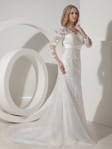 Sleeves V-neck Lace Wedding Dresses Sashed Court Train